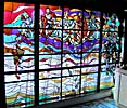 Vilnius, stained glass window at the Theatre Caf�